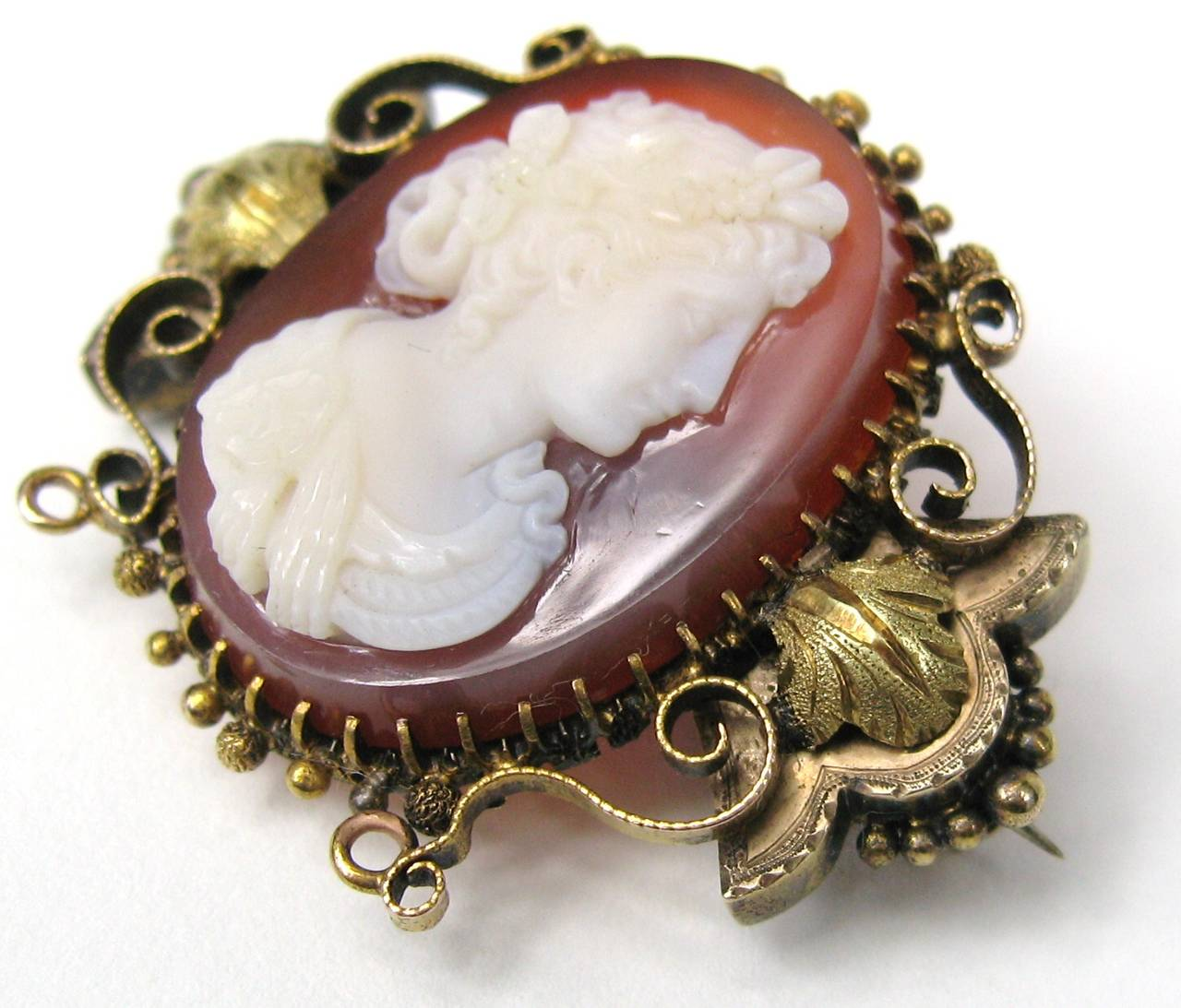 1860's Victorian 14k Gold Shell Cameo Brooch 2
