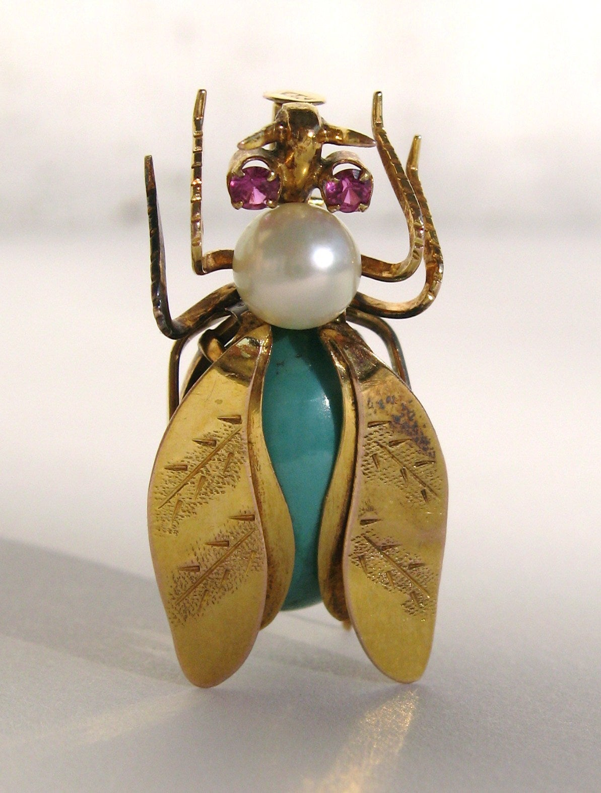 14k Gold Turqouise Pearl & Topaz Fly Insect Brooch 3
