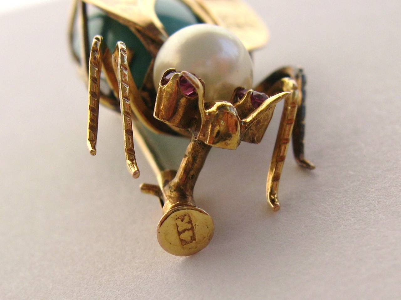 14k Gold Turqouise Pearl & Topaz Fly Insect Brooch 4
