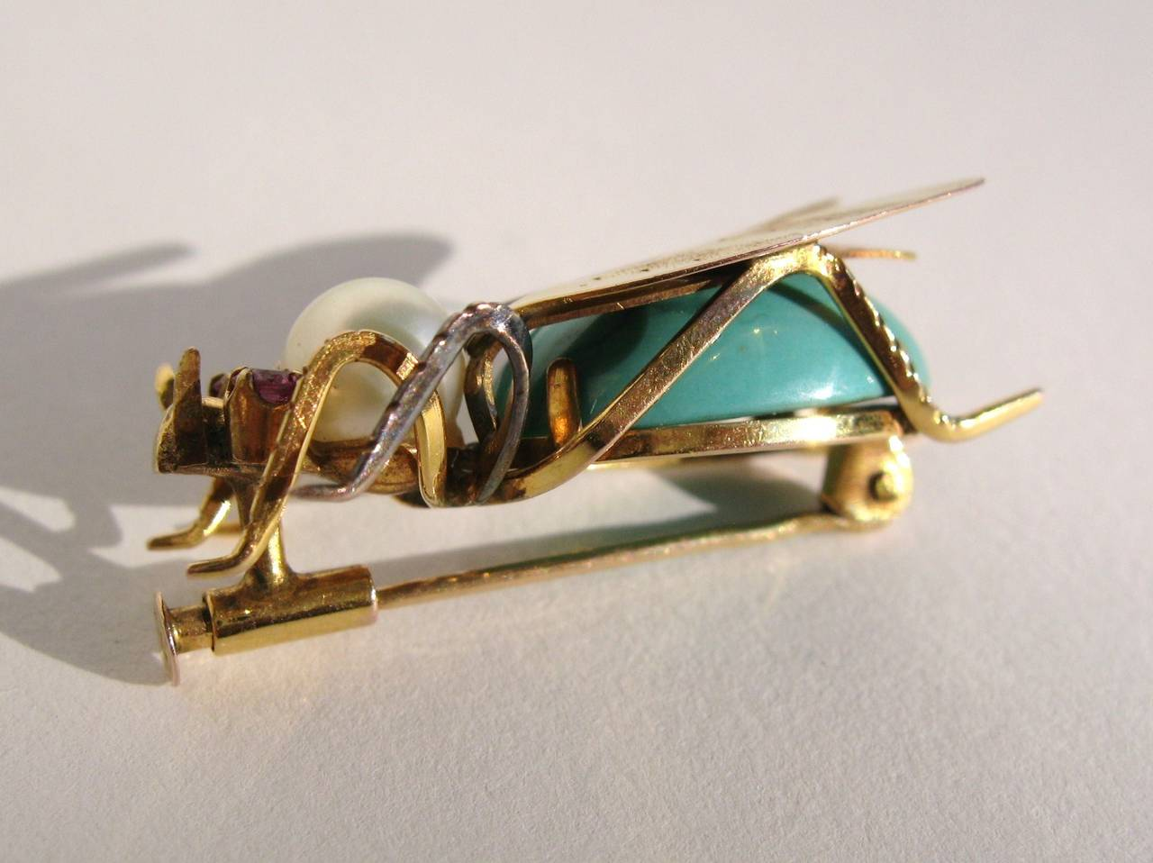 14k Gold Turqouise Pearl & Topaz Fly Insect Brooch 6