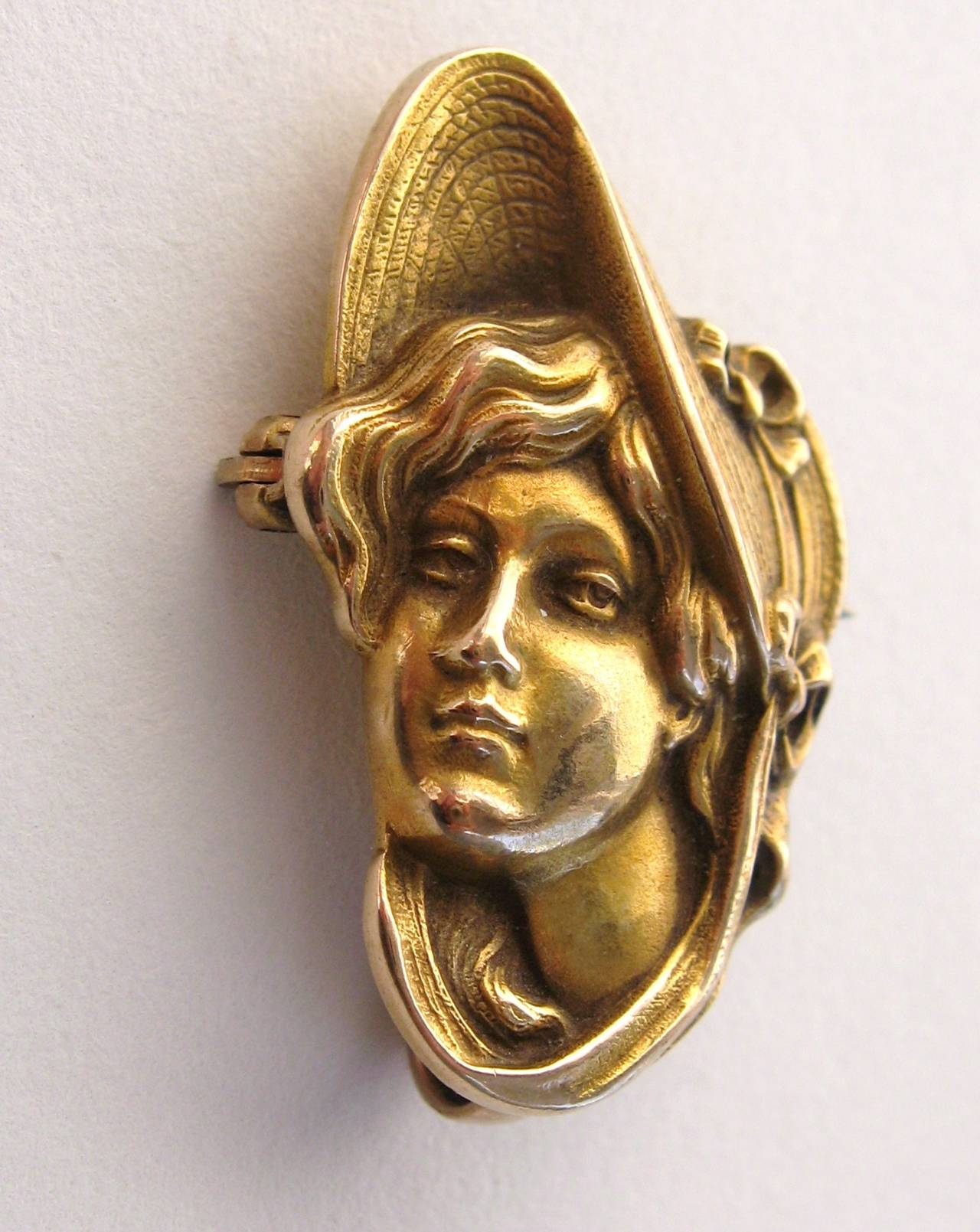 Vintage art nouveau circa 1900s Profile  of a women brooch pin.