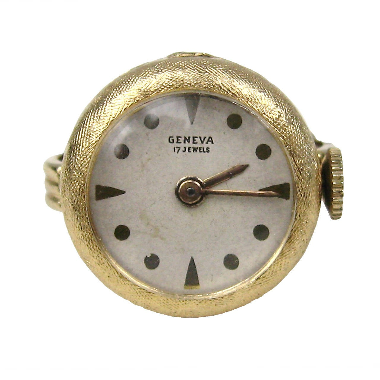 1960s 14k Gold Geneva 17 Jewel Watch Ring 1