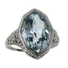 1920s Blue Topaz 18K White Gold Filigree Ring