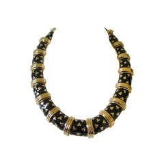 1990's Judith Leiber Gold Tone & Black Enamel Necklace Never worn