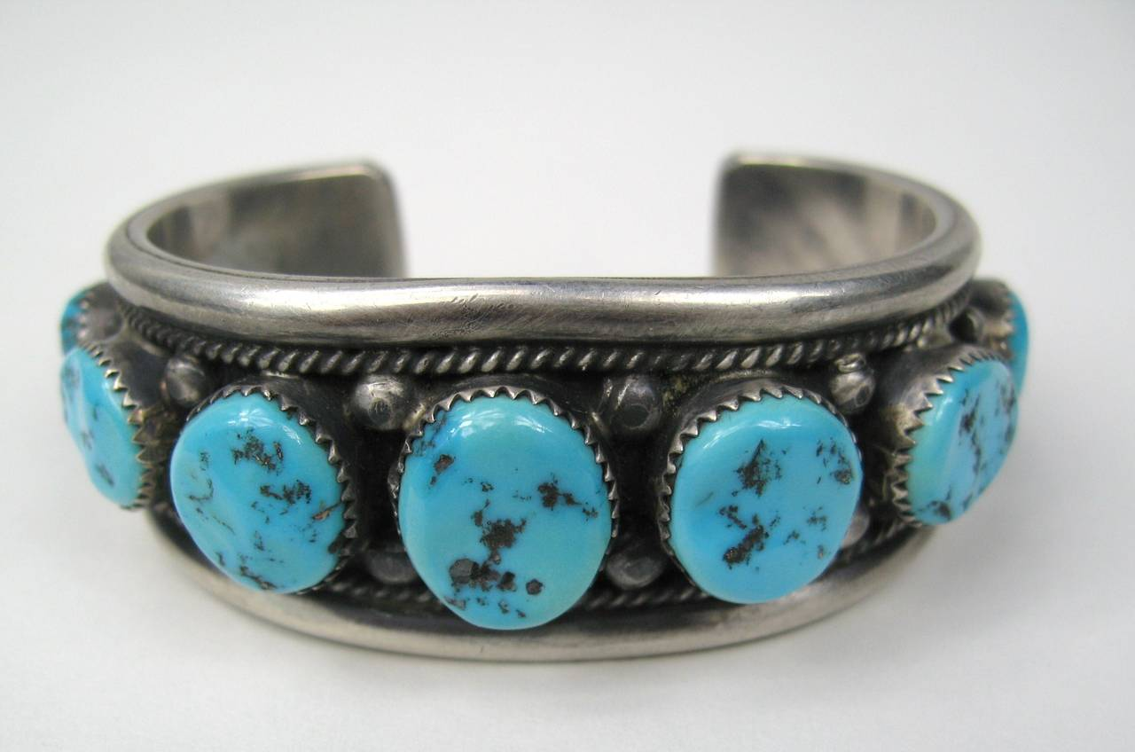Stunning old vintage sterling silver Turquoise cuff