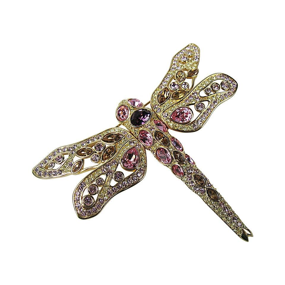 1990s Swarovski Crystal Glitz Pink Amber Purple Dragon Fly Brooch New Never Worn 1