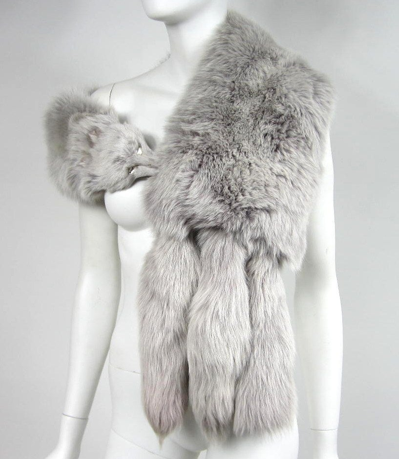 Blue Fox Fur Collar Stole wrap 2