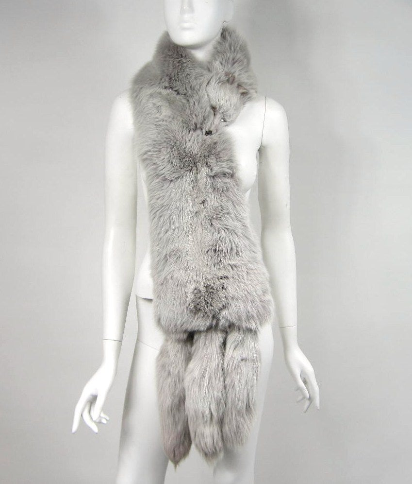 Blue Fox Fur Collar Stole wrap 3