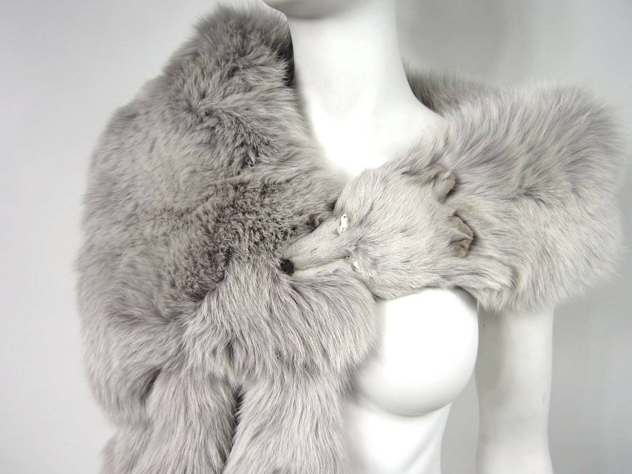 Blue Fox Fur Collar Stole wrap 4