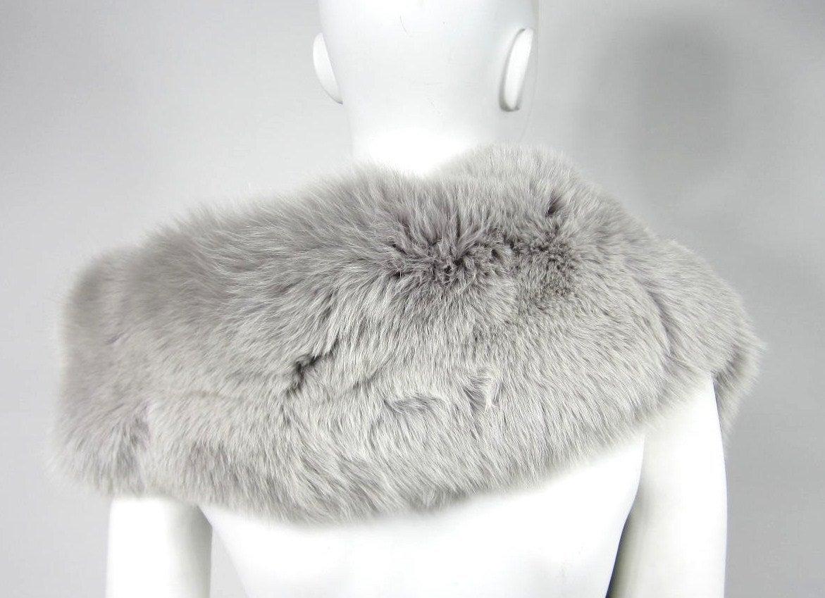Blue Fox Fur Collar Stole wrap 5