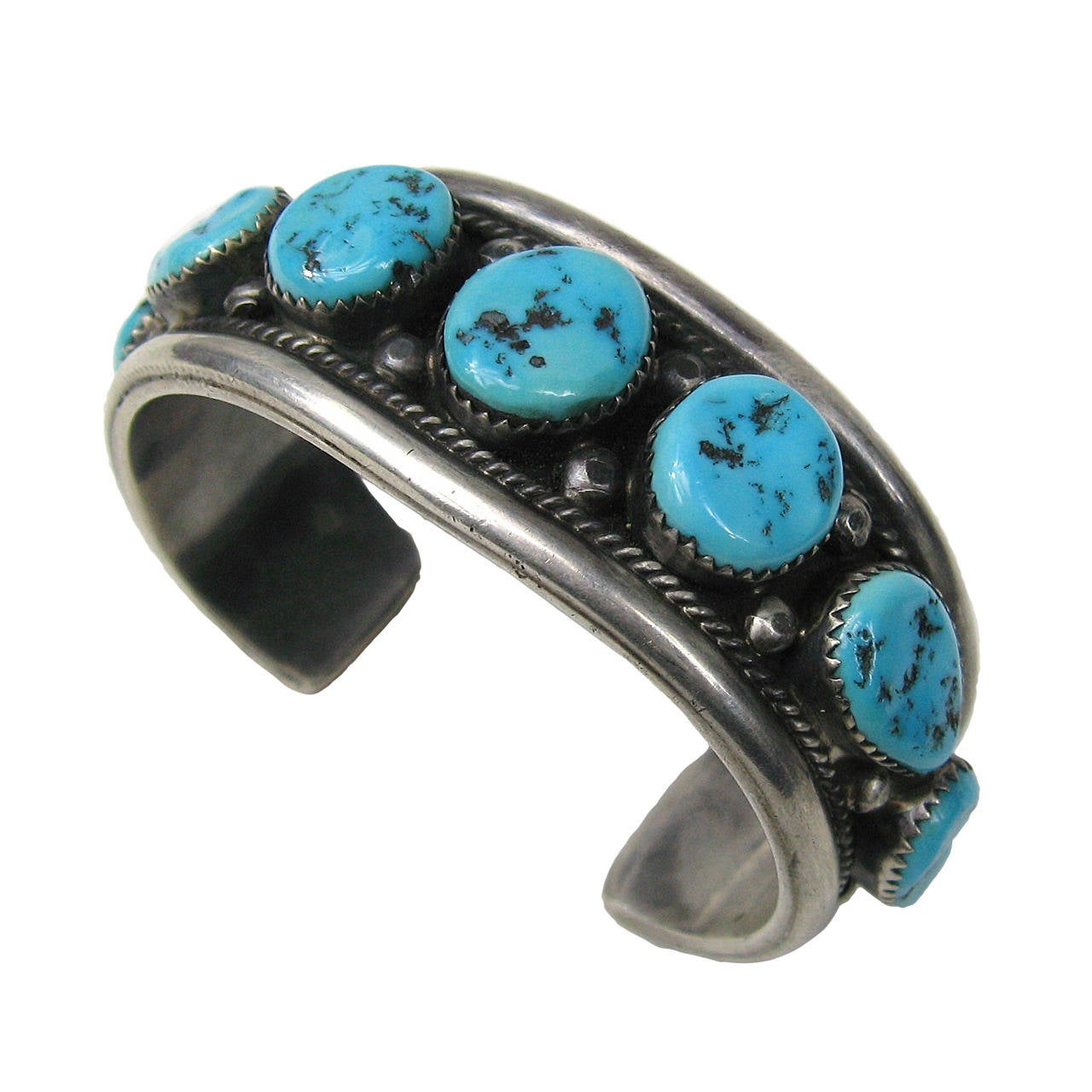 Sterling Silver Native American Navajo Turquoise Cuff Bracelet For Sale
