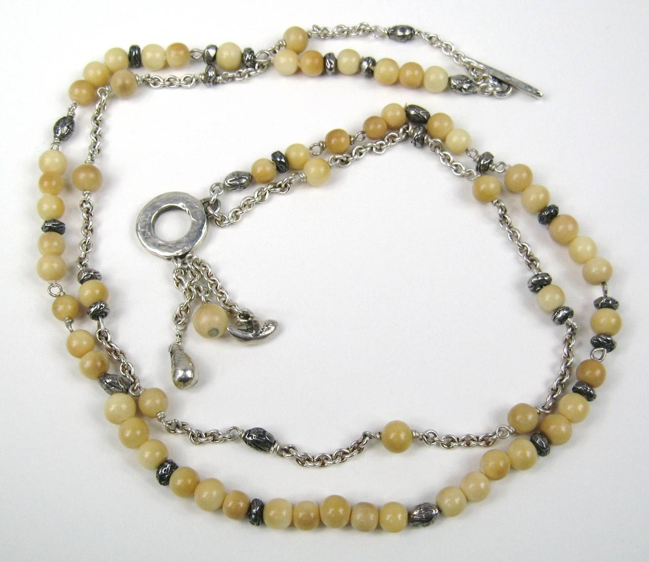 Sterling Silver beaded Susan Cummings Necklace 1980s 3