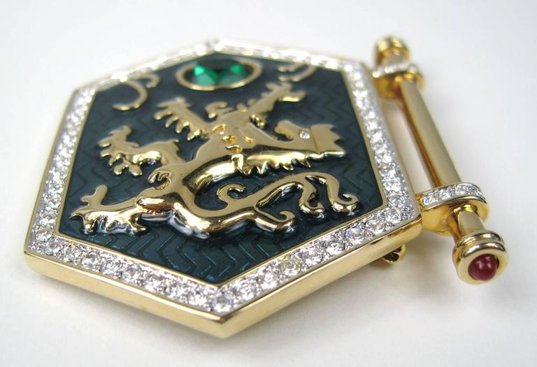 "1980's Swarovski ""Jeweler's Collection"" Crystal Enamel Shield Griffin Brooch 3"