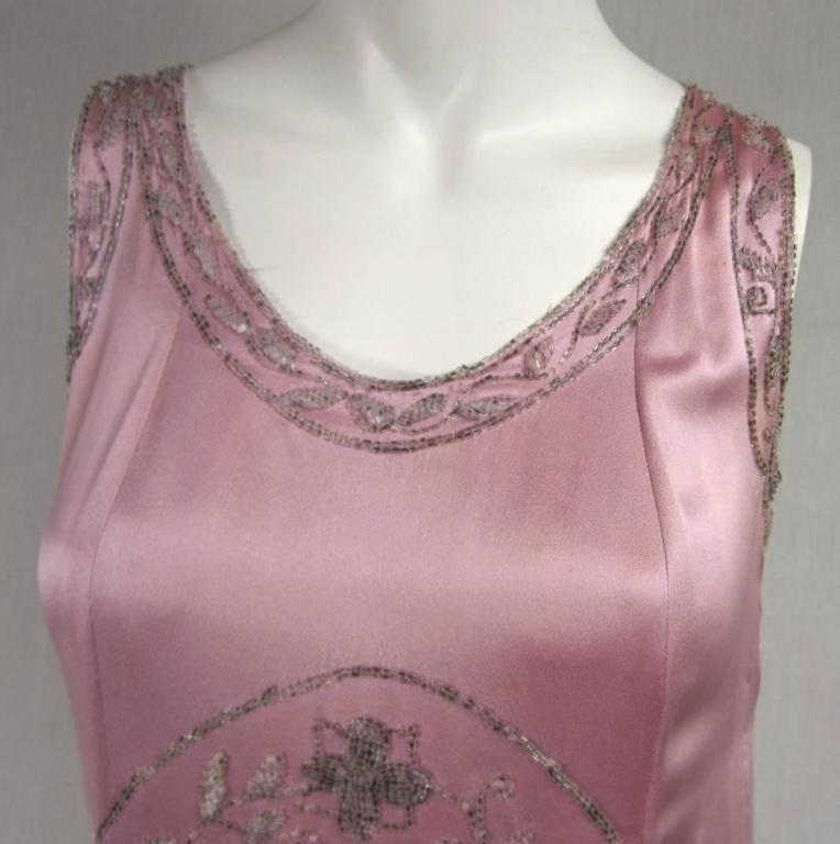"""Brown 1920s Pink Silk Beaded """"Gatsby"""" Dress For Sale"""