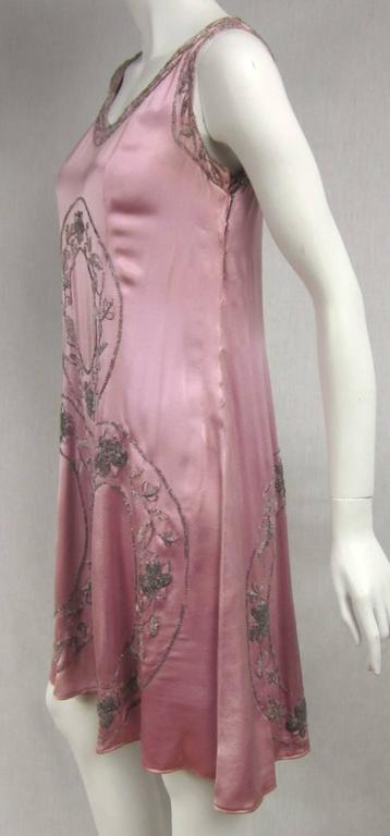 """1920s Pink Silk Beaded """"Gatsby"""" Dress In Excellent Condition For Sale In Wallkill, NY"""