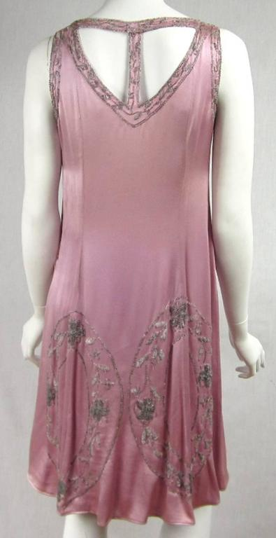 """1920s Pink Silk Beaded """"Gatsby"""" Dress For Sale 1"""