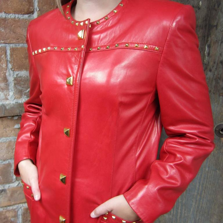 Red Leather 1990s Escada Gold Studded Blazer Jacket  2