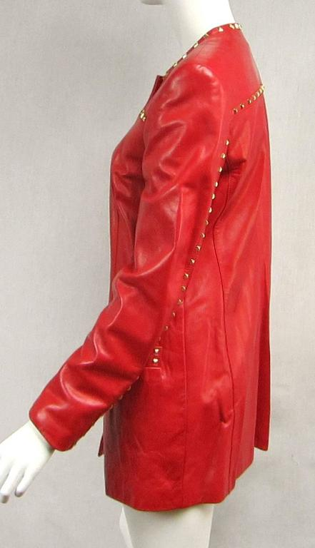 Red Leather 1990s Escada Gold Studded Blazer Jacket  4