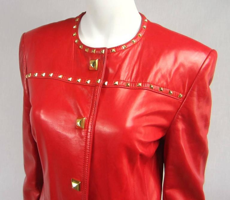 Red Leather 1990s Escada Gold Studded Blazer Jacket  3