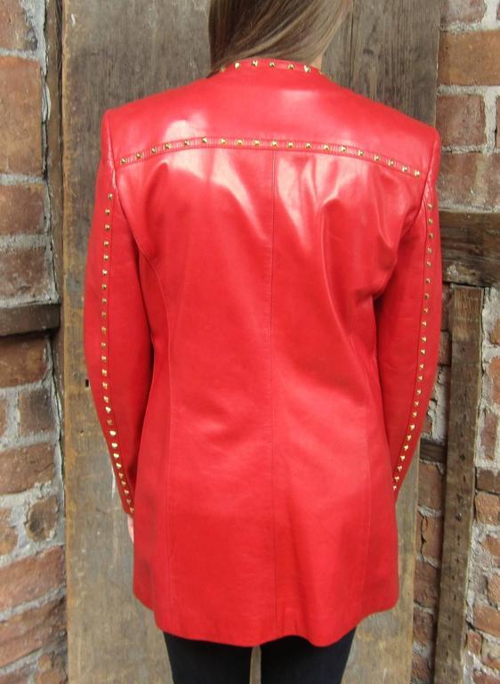 Red Leather 1990s Escada Gold Studded Blazer Jacket  5