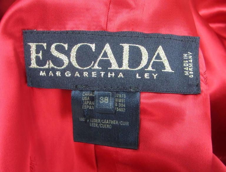 Red Leather 1990s Escada Gold Studded Blazer Jacket  7
