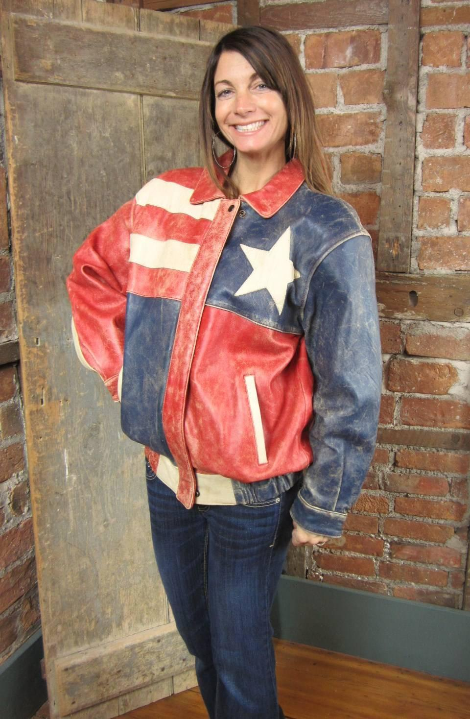 1970s Red White Blue Leather American Flag Bomber Jacket