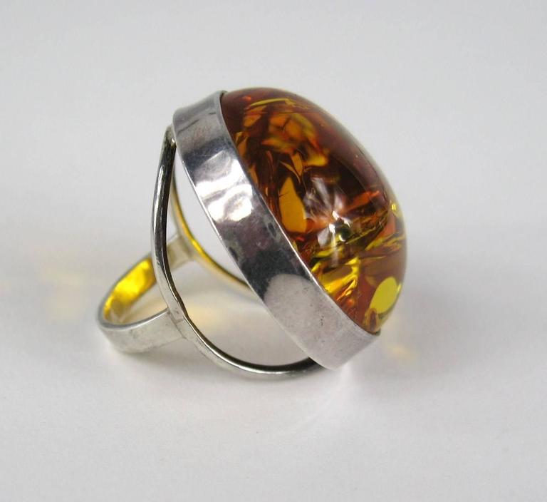Oversized Round Baltic Amber Sterling Silver Ring For Sale ...