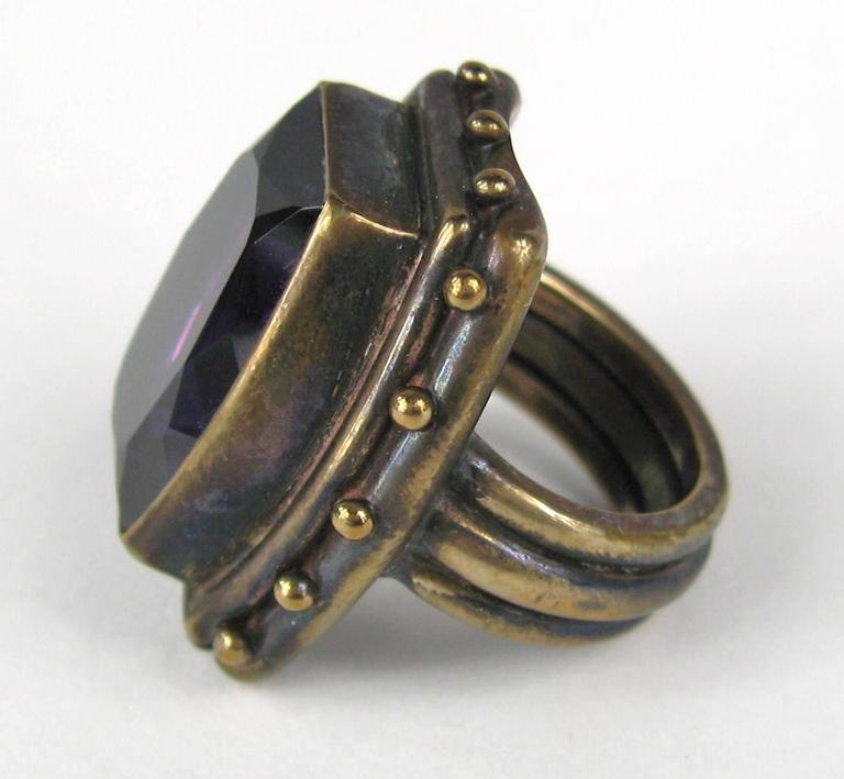 1990s Stephen DWECK Sterling silver Bronze Faceted Amethyst Ring 3