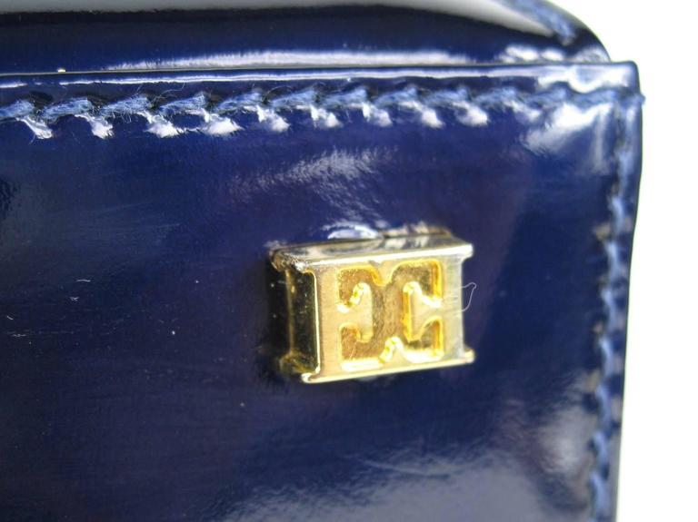 Escada Blue Patent Leather Kelly Hand Bag Never Used 1990s 5