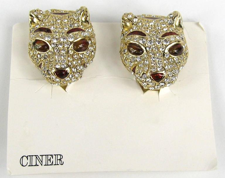 1980s Ciner encrusted swarovski Crystal Lion Earrings - New Old stock 4