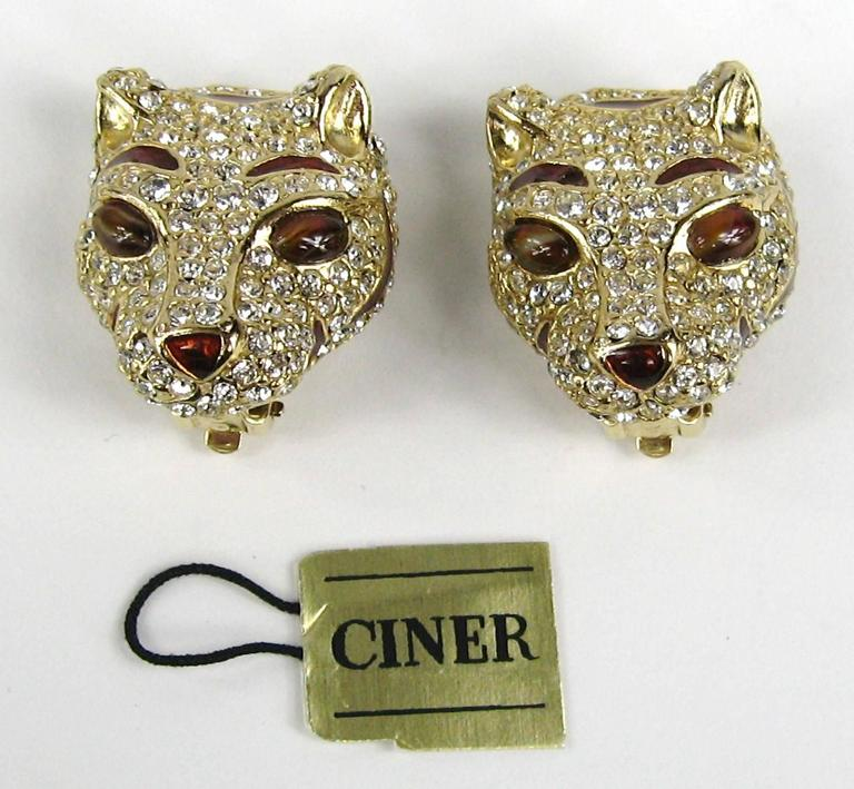 1980s Ciner encrusted swarovski Crystal Lion Earrings - New Old stock 2