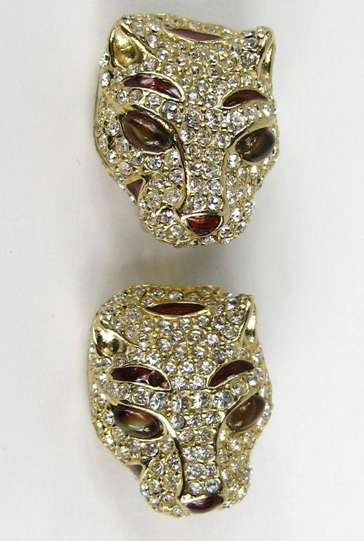 1980s Ciner encrusted swarovski Crystal Lion Earrings - New Old stock 3