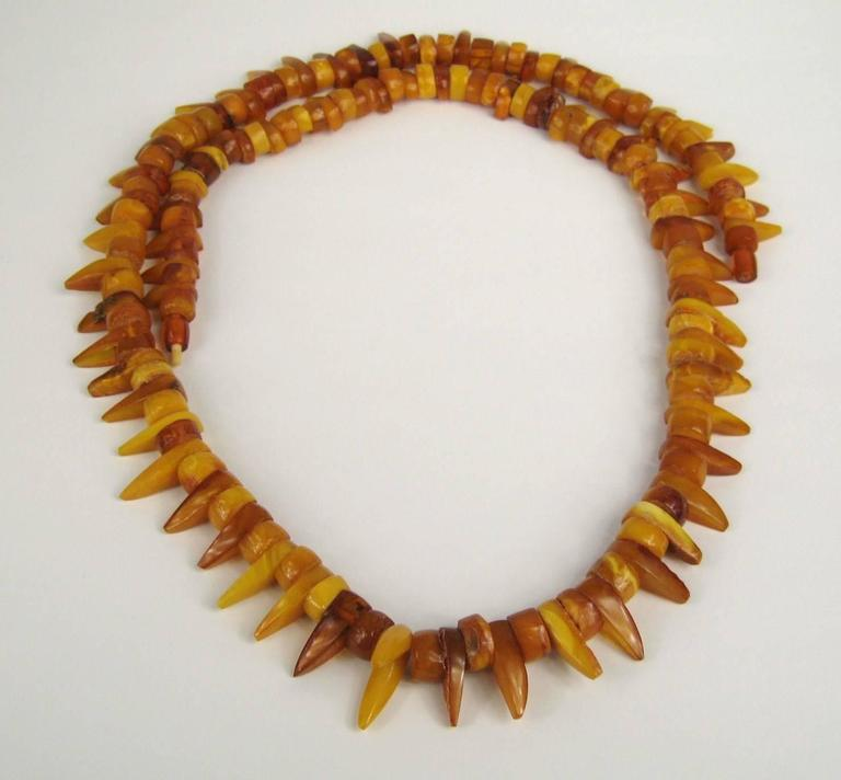 Baltic Honey Amber Tribal Necklace  2
