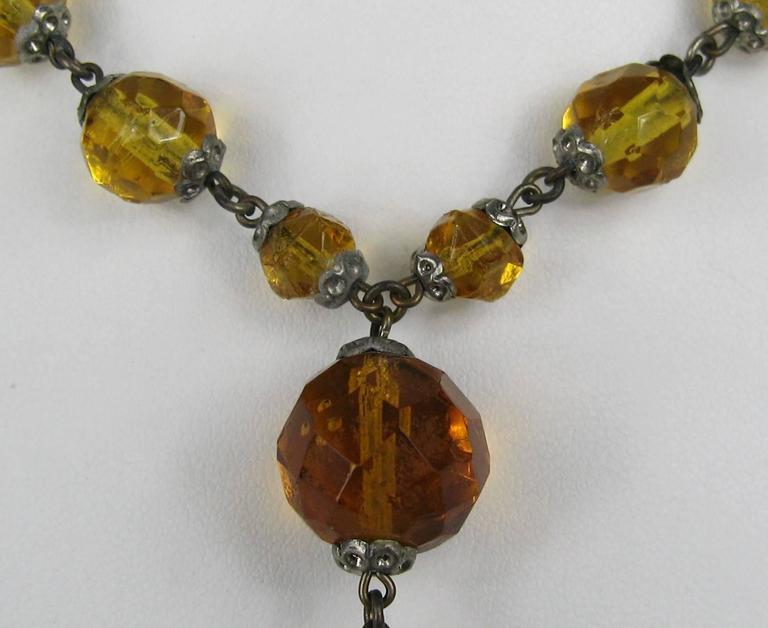 1920s Art Deco Amber Glass Sautoir Necklace  2