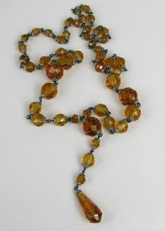 1920s Art Deco Amber Glass Sautoir Necklace  3