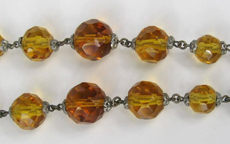 1920s Art Deco Amber Glass Sautoir Necklace  4