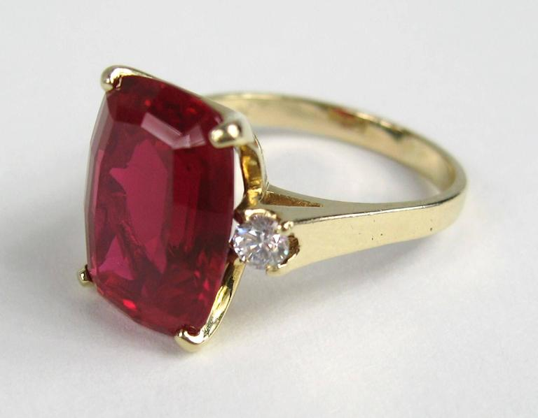 Stunning 1950's 14K Gold Diamond Ruby Ring  In Excellent Condition For Sale In Wallkill, NY