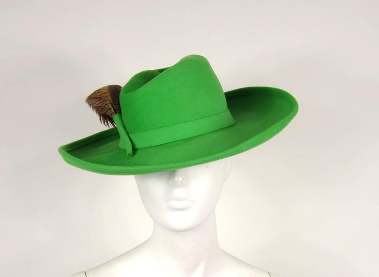 1970s Green Vintage Adolfo Feather Wide Brim Hat  2