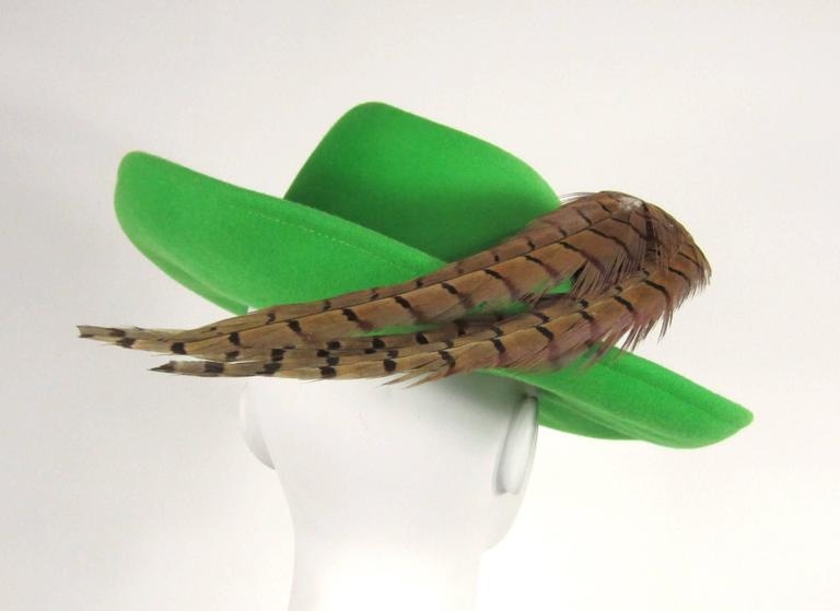 1970s Green Vintage Adolfo Feather Wide Brim Hat  3