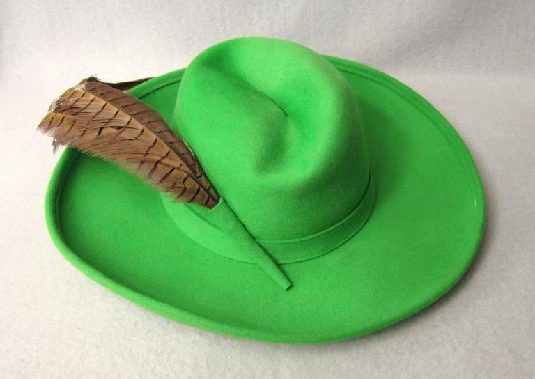 1970s Green Vintage Adolfo Feather Wide Brim Hat  4