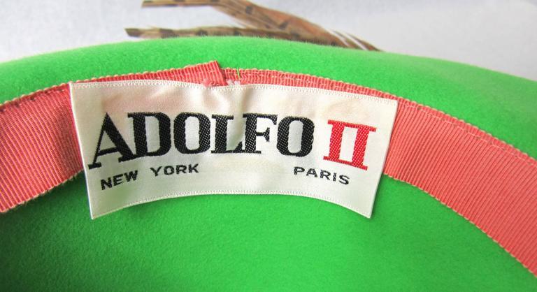 1970s Green Vintage Adolfo Feather Wide Brim Hat  5