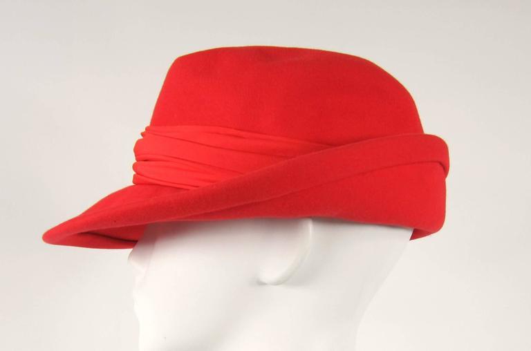 Vintage 1960s Red Wool Fedora Hat  3