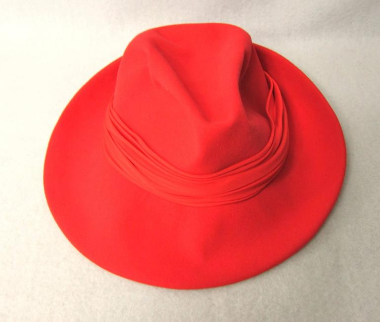 Women's Vintage 1960s Red Wool Fedora Hat  For Sale
