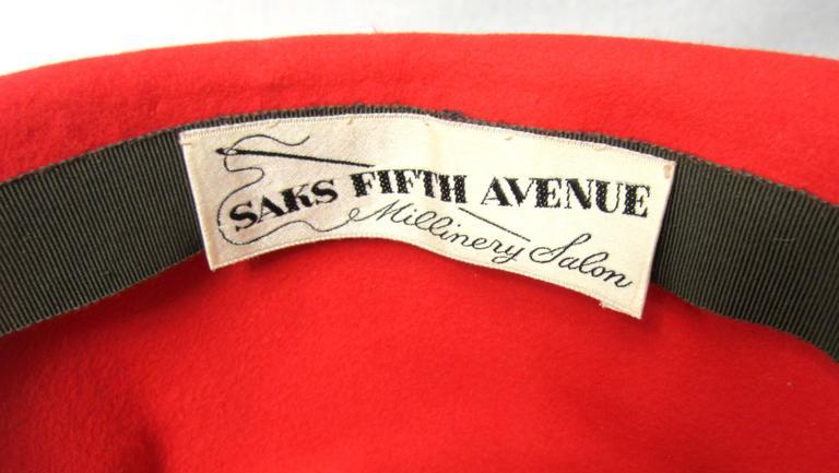 Vintage 1960s Red Wool Fedora Hat  5