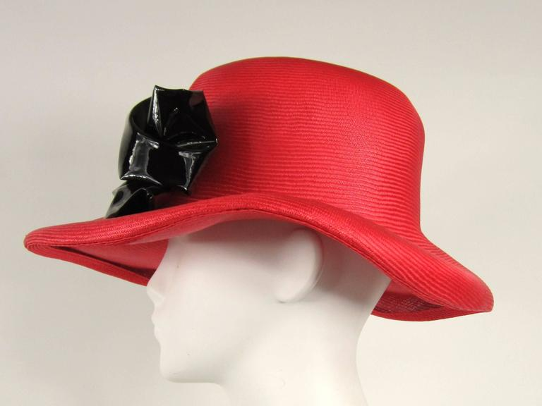 Vintage 1960s Red Mod Straw Black Bow Derby Hat  2