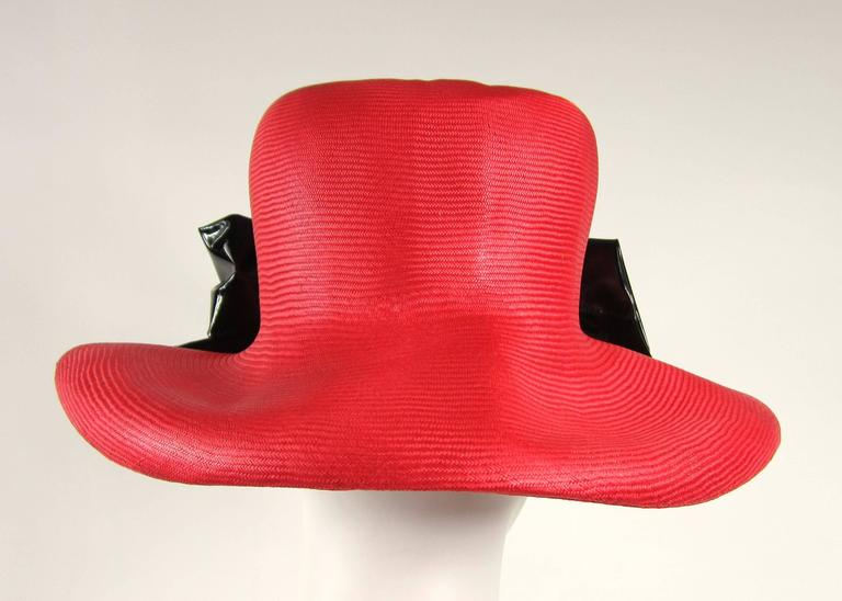 Vintage 1960s Red Mod Straw Black Bow Derby Hat  3