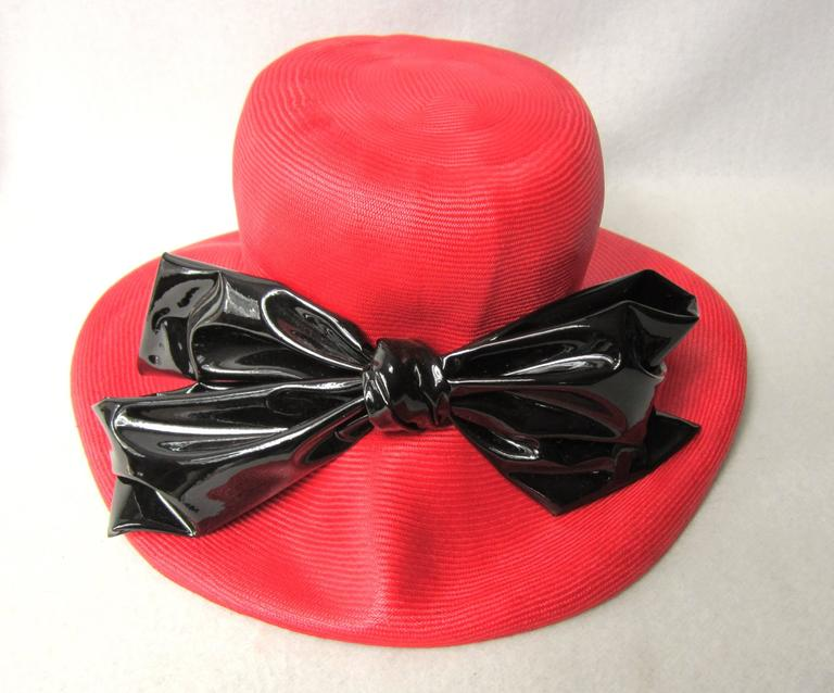 Vintage 1960s Red Mod Straw Black Bow Derby Hat  4