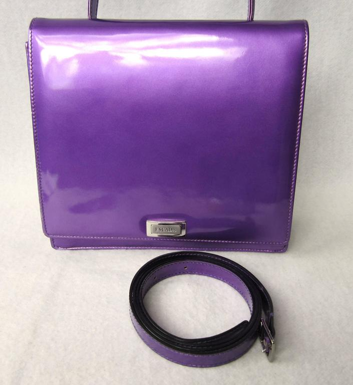 Purple Calf Leather Escada Handbag New Old stock 1990s In New Never_worn Condition For Sale In Wallkill, NY