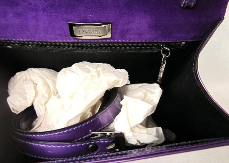 Purple Calf Leather Escada Handbag New Old stock 1990s 5
