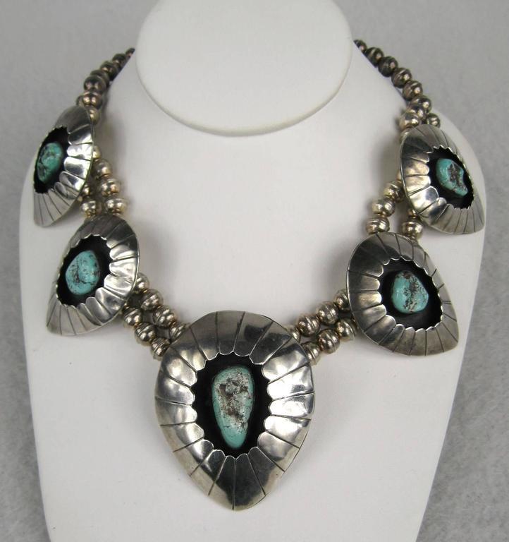 Navajo Shadow Box Squash Turquoise Matrix Sterling silver Necklace 2